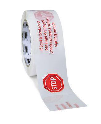 White Stop Sign Printed Tape 2 X 110 Yard 2 Mil Box Sealing Tapes 6 Rolls