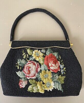 1940s Handbags and Purses History Vintage beaded and petit point hand stitched bag $80.92 AT vintagedancer.com