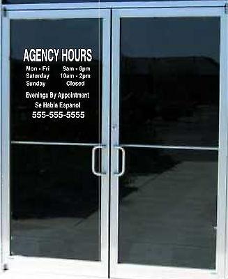 Custom Business Store Hours Sign Vinyl Decal Sticker 15x15 Window Door Glass