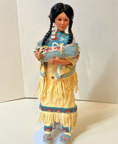 """Native American Doll with baby. By J. Belle 1990, 16"""" tall"""
