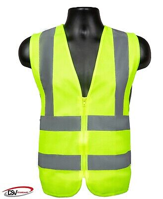 Dsv Standard High Visibility Reflective Safety Vest With Zipper Neon Yellow