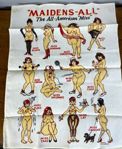 VINTAGE LINEN TOWEL RISQUE NAUGHTY NUDE MAIDENS-ALL THE ALL AMERICAN MISS HUMOR!