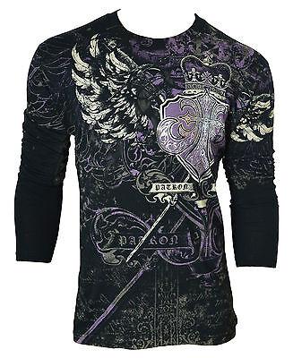 XZAVIER [ROYAL CROWN] LONGSLEEVE T-SHIRT FOIL FLEUR DE LIS KING WINGS TATTOO (Royal Crown Tattoo)