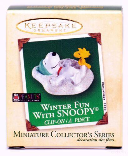 Winter Fun with SNOOPY NEW Hallmark Miniature 2003 Ornament WOODSTOCK Snow Angel