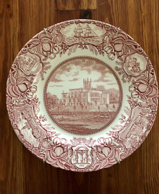 Wedgwood History Dinner Plate Red/Pink Old State Capitol