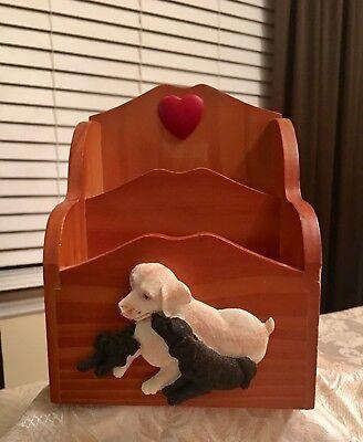 Vintage Mother Dog Puppies Wood Letter Holder Desk Organizer