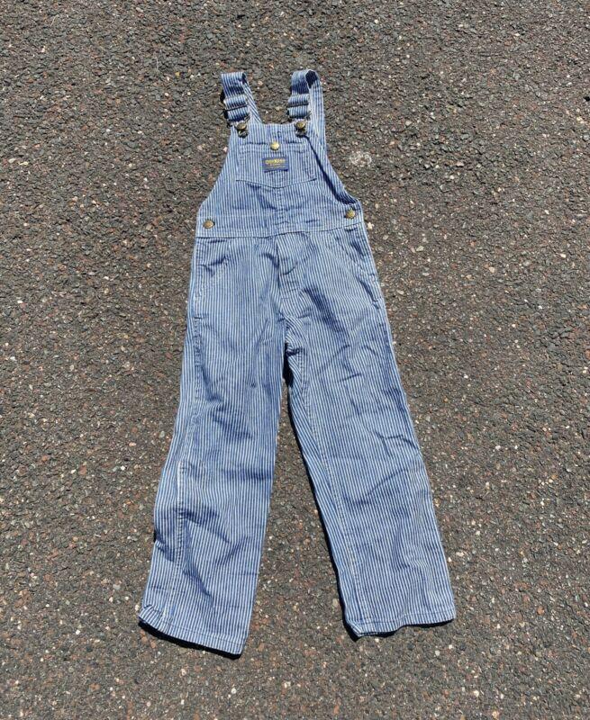 Vintage 90s Oshkosh B'Gosh Kids Striped Overalls USA Made - Size 6