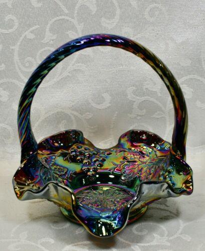 """Fenton, Basket, Amethyst Carnival Glass, """"Grape"""" Pattern."""