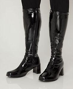 Black Boots - Mens Retro Cool GoGo Knee High Boots - Size 11 UK - Black Patent