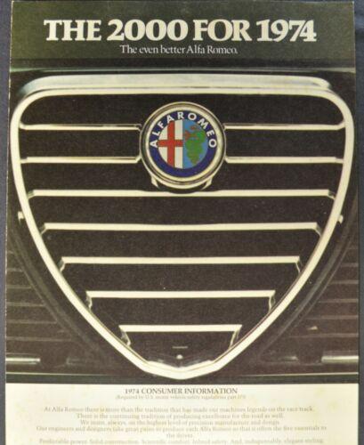 1974 Alfa Romeo 2000 Brochure Folder Spider Veloce GT Berlina Nice Original 74