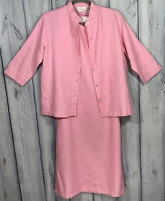 Studio Works Womens 100 % Linen Dress Two Piece Set Size Petite Small Pink