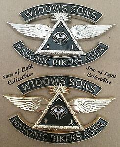 GOLD Widows Sons Masonic Bikers Association Emblem 3 inch auto motorcycle Mason