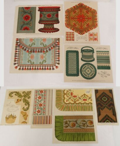 Antique Color Litho Floral Print Pattern Lot of 9 Embroidery Designs Needlework