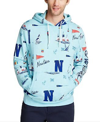 Nautica Mens Sweater Blue Size Medium M Graphic Print Pocket Hooded $118 #209