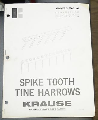 Krause Spike Tooth Tine Harrow Owners Manual For 4100 Cultivators 4300 Plow