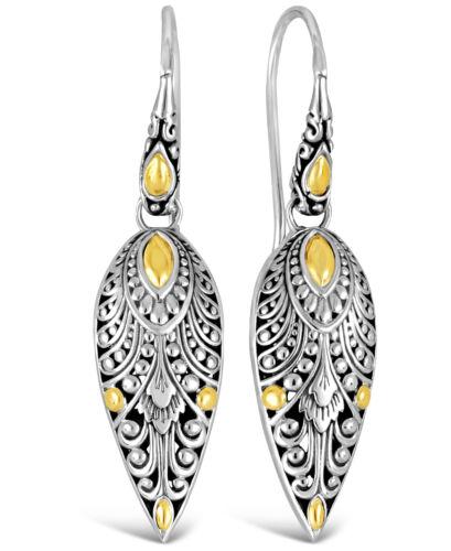 DEVATA Bali Angels Wings Sterling Silver 925 Drop Earrings 18K Gold DVN6952TT