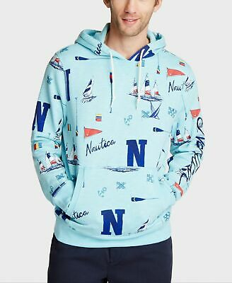 Nautica Mens Sweater Blue Size 2XL All Over Print Hooded Pullover $118 048