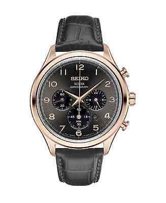 Seiko Men's Black Leather Strap Rose Gold Tone Bezel Watch SSC566