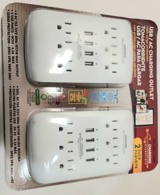 2 pk Charging Essentials USB/AC Charging Outlet with Surge Protection NEW Sealed