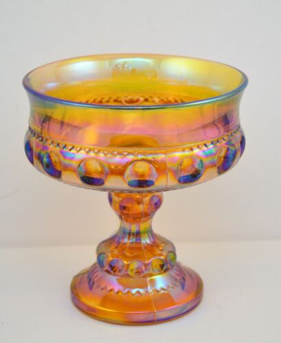 VINTAGE INDIANA AMBER CARNIVAL GLASS KINGS CROWN THUMBPRINT COMPOTE CANDY DISH