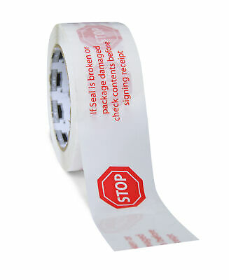 Stop Sign Printed Tape White 3 X 110 Yards 2 Mil Warning Tapes 12 Rolls