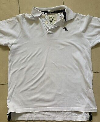 ABERCROMBIE AND FITCH MEN'S MUSCLE FIT WHITE POLO SHIRT - SIZE LARGE