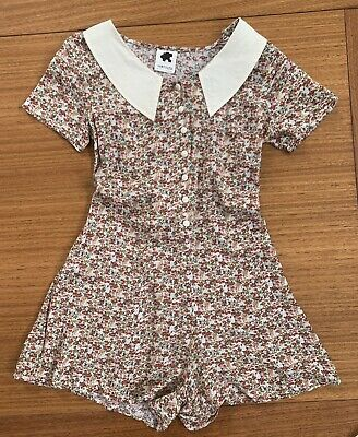Men's 1920s Style Ties, Neck Ties & Bowties Subtitled Playsuit Romper Floral Rayon 1920s 1930s Style Size 10 AU $23.76 AT vintagedancer.com