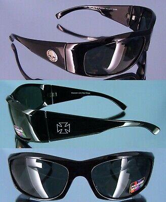 Polarisierte Herren Biker Sonnenbrille mit Skull u. Kreuz Symbol 400UV schwarz (Skull Sonnenbrille)