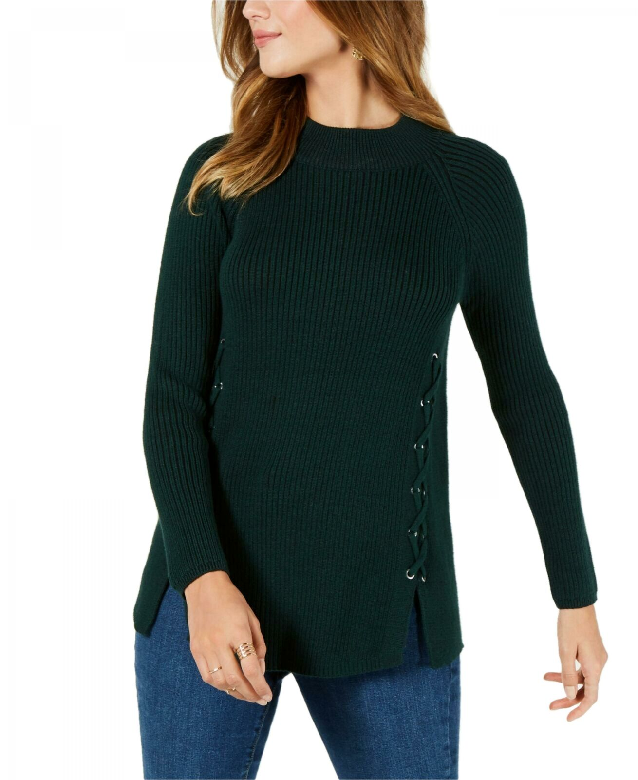 Details about NWT Style & Co Womens Lace Up Mock Turtleneck Sweater. 100028287MS