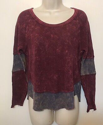 Free People We The Free XS Shirt Dark Red Waffle Knit Long Sleeve Distressed Top