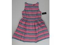 NWT Ralph Lauren Infant Girls SS Pink Striped Party Dress Sz 3m 6m 9m NEW $65