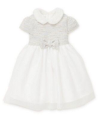 LITTLE ME Baby Girl DRESS fur collar glitter skirt & Panties 12/18M (84cm) BNWT