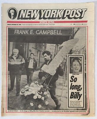 12-29-1989 NEW YORK POST NEWSPAPER NY YANKEES LEGEND BILLY MARTIN DEATH