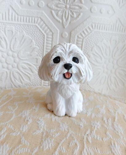Maltese, Havanese, Coton White mix Dog Resin FureverClay Collectible FureverClay