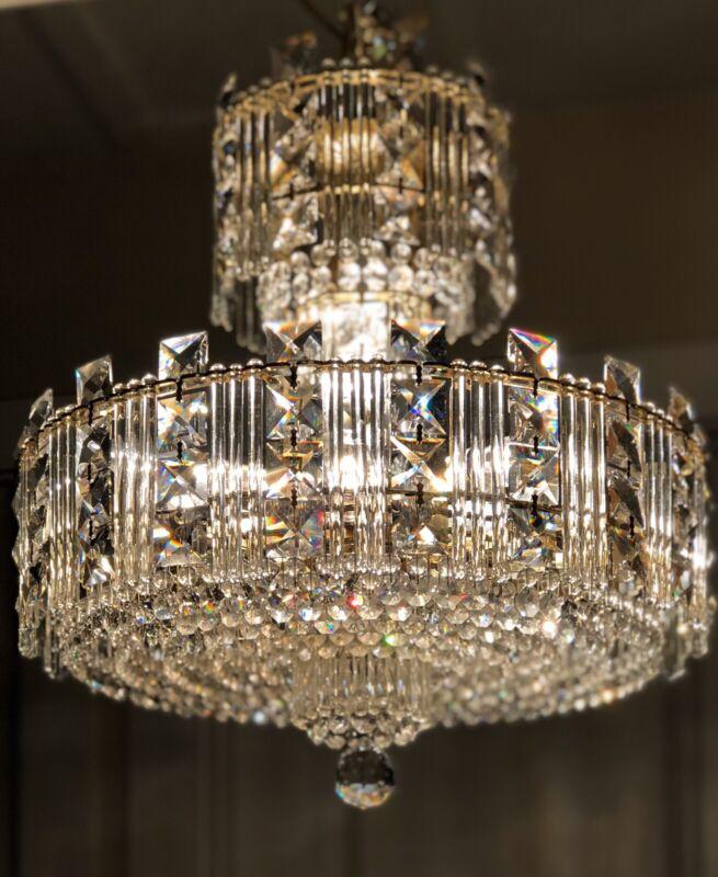 (4+ Avail.) Vintage Modern Schonbek Swarovski Crystal Chandelier Gold 11-light
