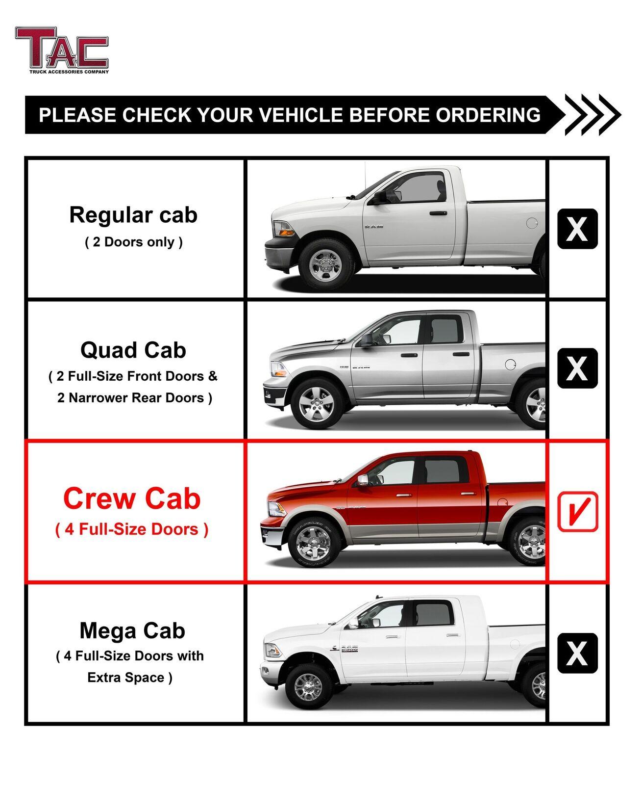 "For 2009-2018 Dodge Ram 1500 Crew Cab 4.25/"" Texture Black Side Steps Nerf Bars"