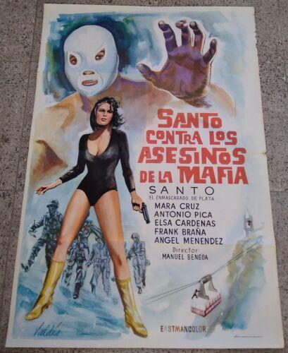 SANTO CONTRA LOS ASESINOS DE LA MAFIA Mexican ONE SHEET 1970 MOVIE POSTER