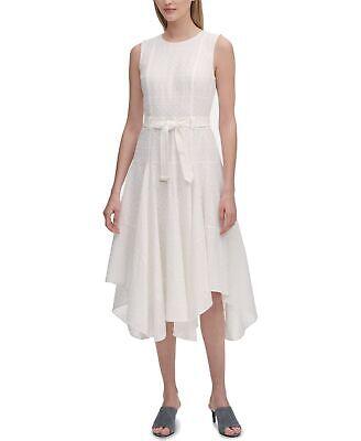 Calvin Klein Women A-Line Dress White Size 6 Belted Eyelet Handkerchief $139 409
