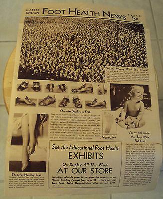 Unusual 1930S Advertising Newspaper  Foot Health News  Shoes Dr  Schools