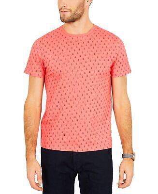 Nautica Mens T-Shirt Coral Pink Size 2XL Anchor Print Graphic Crewneck 100