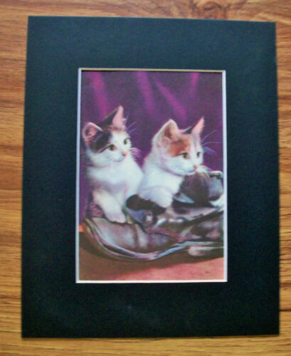 Print Kittens Old Boot Peggy Burrows Corson 1955 Bookplate 8x10 Matted Cute Cats
