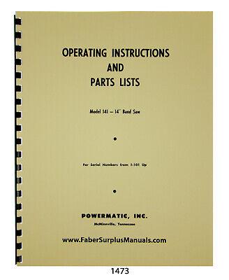 Powermatic 14 Bandsaw Model 141 Op Instructions Parts Manual 1473