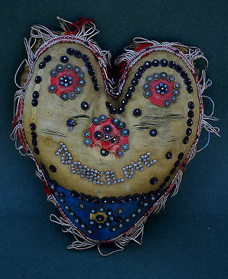 """ANTIQUE ENGLISH VALENTINE PIN CUSHION """"TO ONE I LOVE"""" LOVE TOKEN ROMANTIC GIFT"""