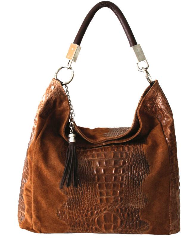 Ital echt leder handtasche schultertasche damentasche shopper bag kroko braun фото