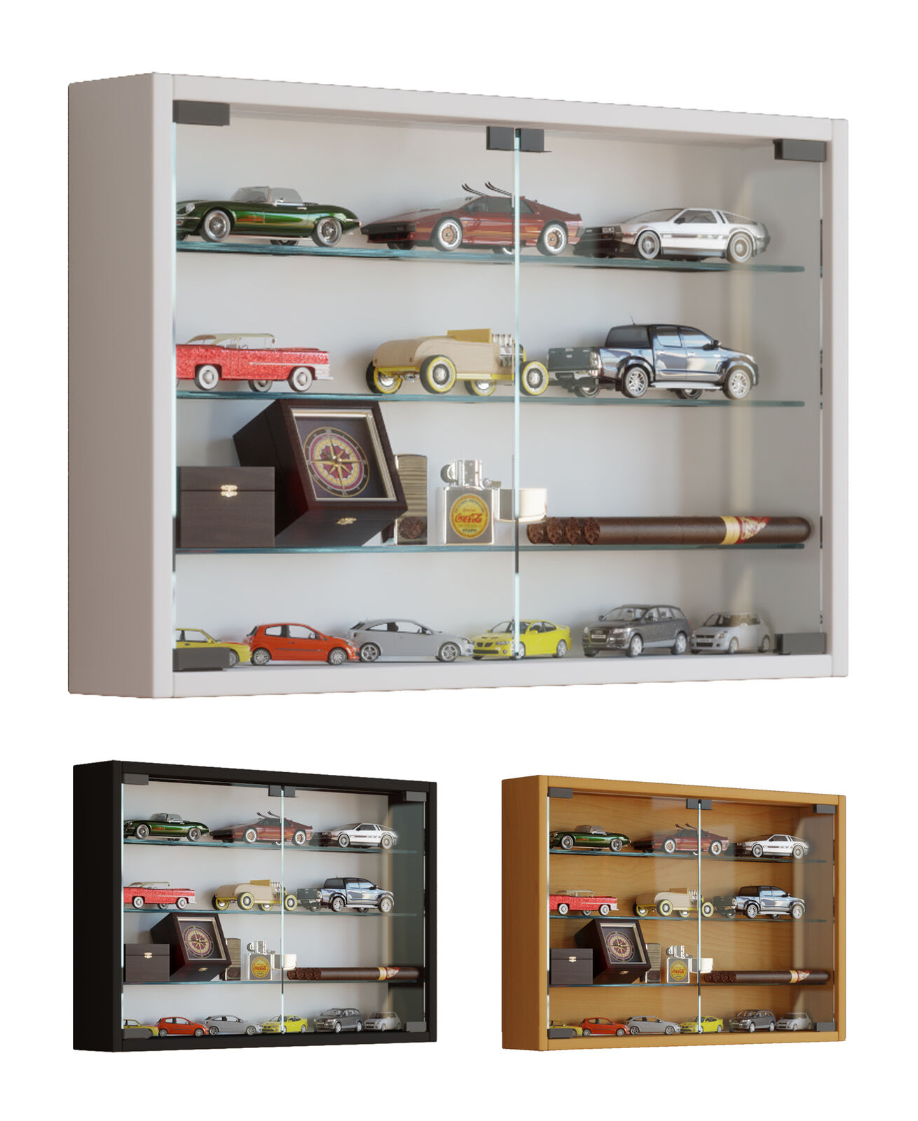 Picture of: Glass Display Cabinet Wall Mounted Wide Medium Toys Vapes Various Colours Ebay