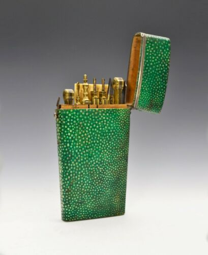 Fine Silver-Mounted Shagreen Drafting Set By Bleuler, London