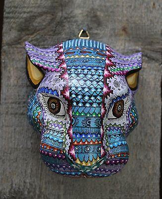 #2 Alebrijes Jaguar Head Hand Carved & Painted Wood Oaxaca Mexico Folk Art