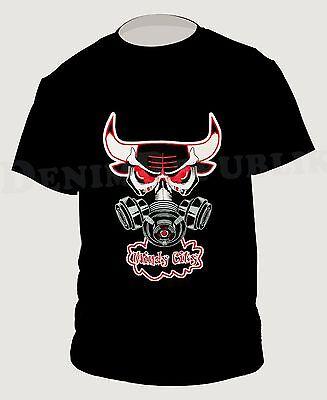 BULLS WINDY CITY Black T-Shirt Gas Mask Jordan DRose Men