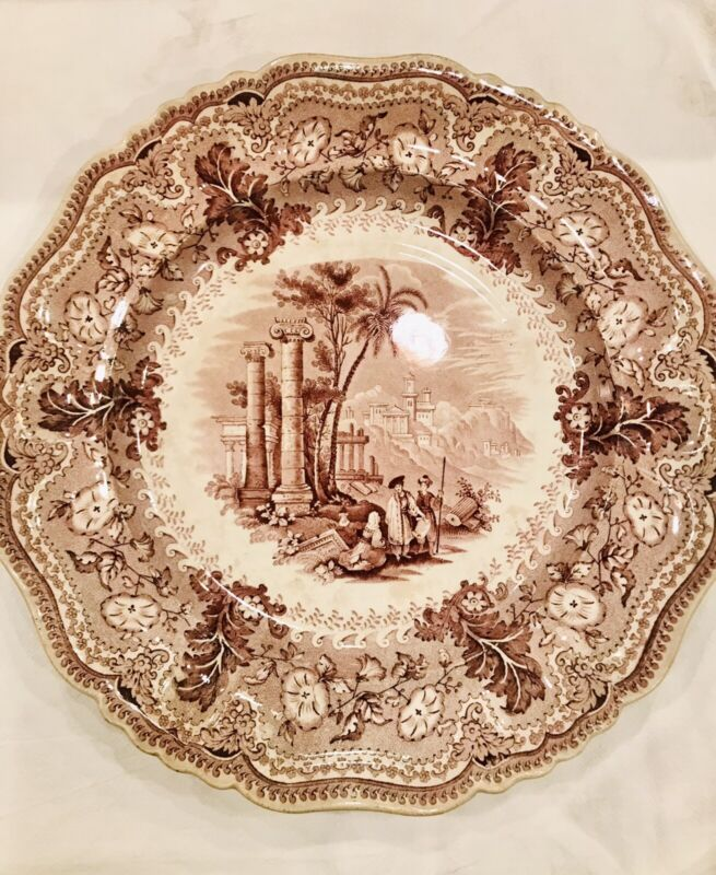 Antique Plate Acropolis, very rare antique Plate, Brown Colored Print