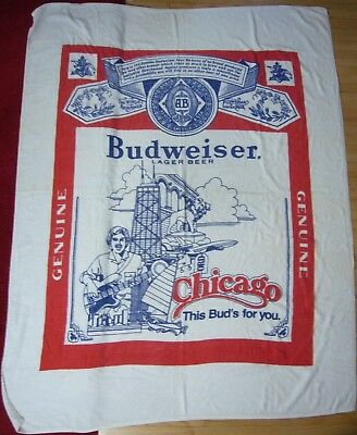 Rare VTG 64x50 Chicago landmark skyline This Bud's for You Budweiser Beach Towel